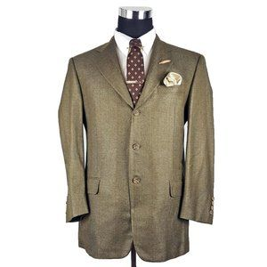 Hickey Freeman Mens Plaid Silk Tweed Blazer 40R